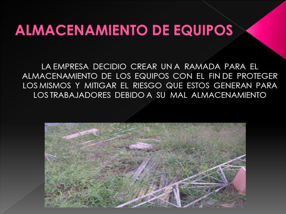 ALMACENAMIENTO DE EQUIPOS