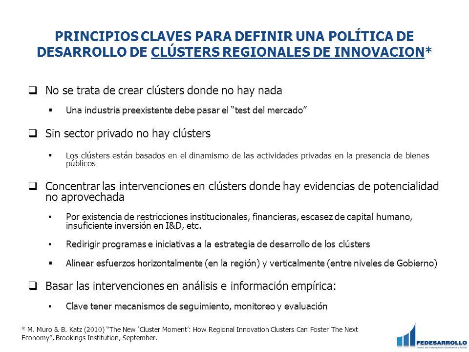 PRINCIPIOS CLAVES PARA DEFINIR UNA POLÍTICA DE DESARROLLO DE CLÚSTERS REGIONALES DE INNOVACION*