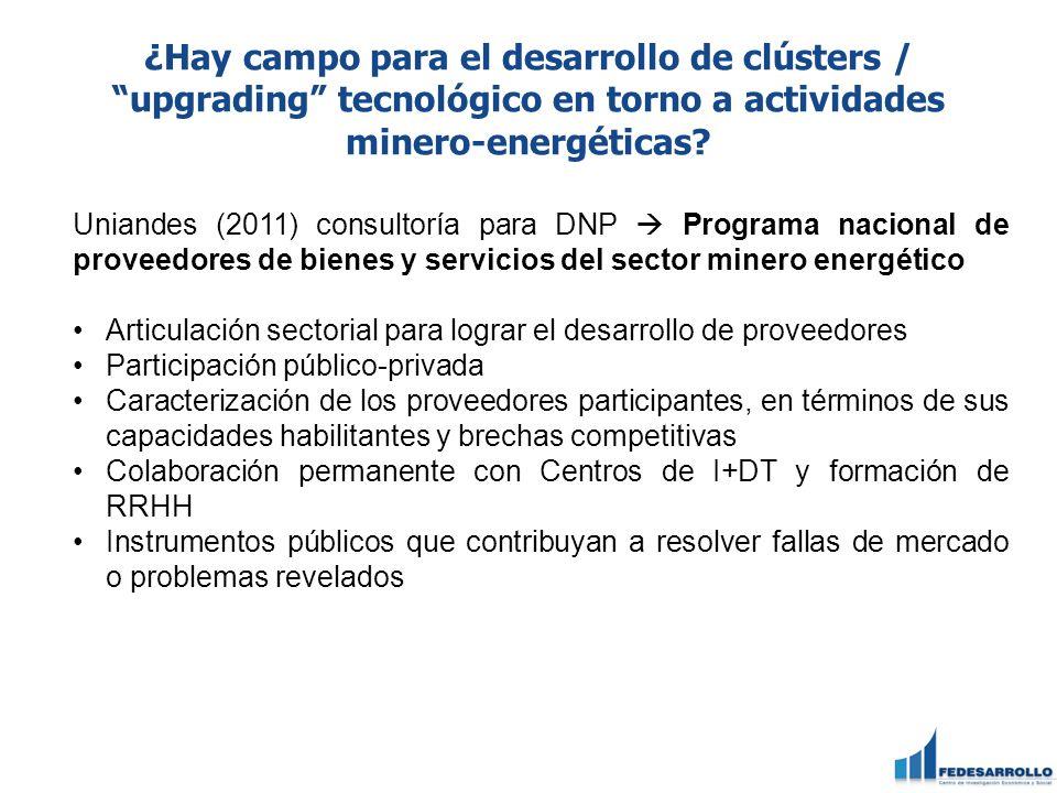 ¿Hay campo para el desarrollo de clústers / upgrading tecnológico en torno a actividades minero-energéticas