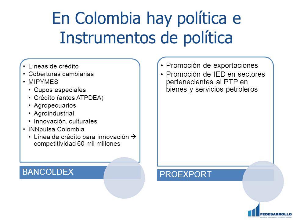En Colombia hay política e Instrumentos de política