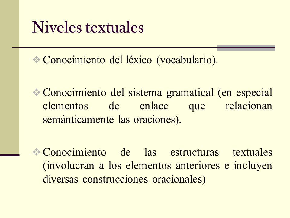 Niveles textuales Conocimiento del léxico (vocabulario).