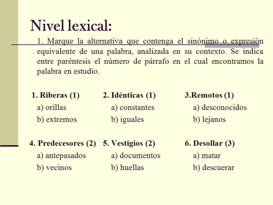 Nivel lexical: