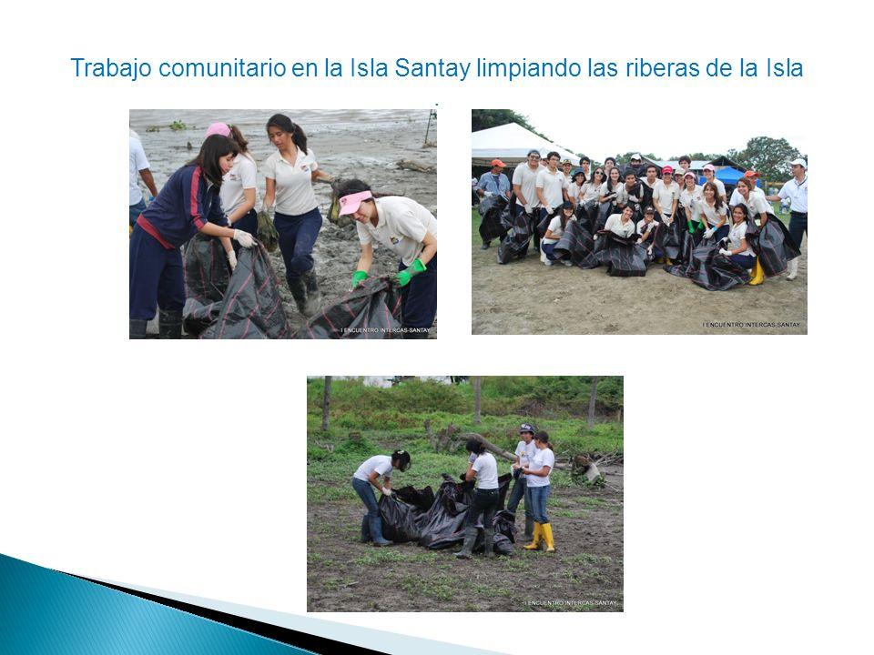 Trabajo comunitario en la Isla Santay limpiando las riberas de la Isla