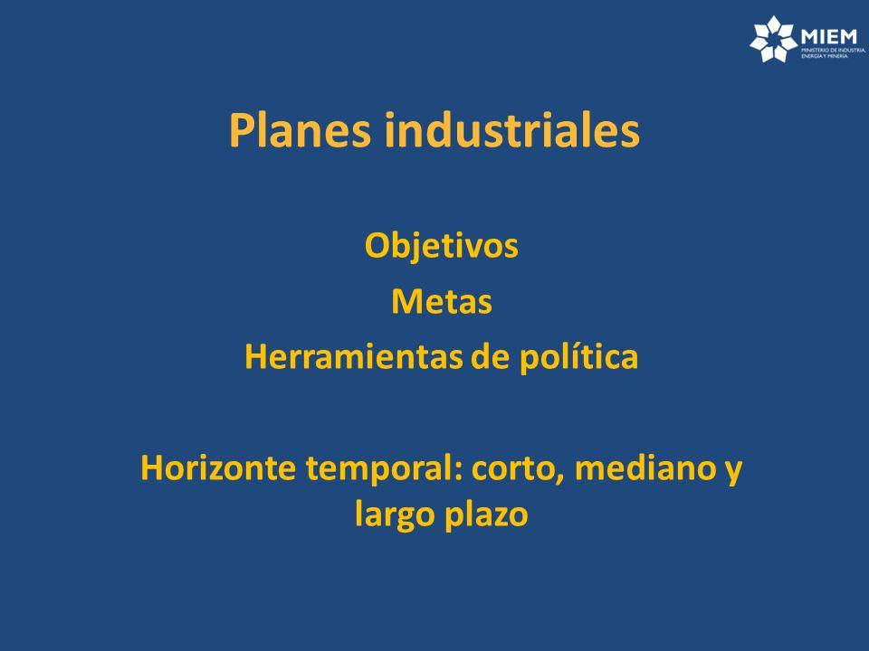 Planes industriales Objetivos Metas Herramientas de política