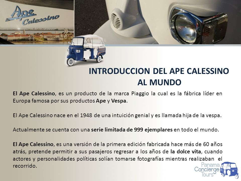 INTRODUCCION DEL APE CALESSINO AL MUNDO