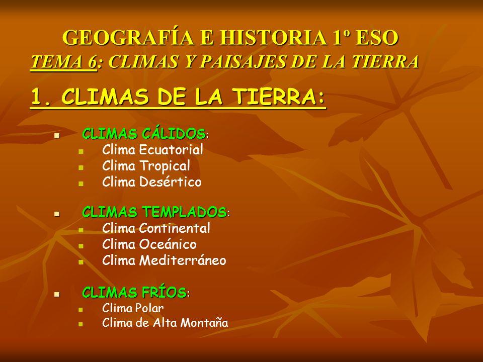 GEOGRAFÍA E HISTORIA 1º ESO TEMA 6: CLIMAS Y PAISAJES DE LA TIERRA