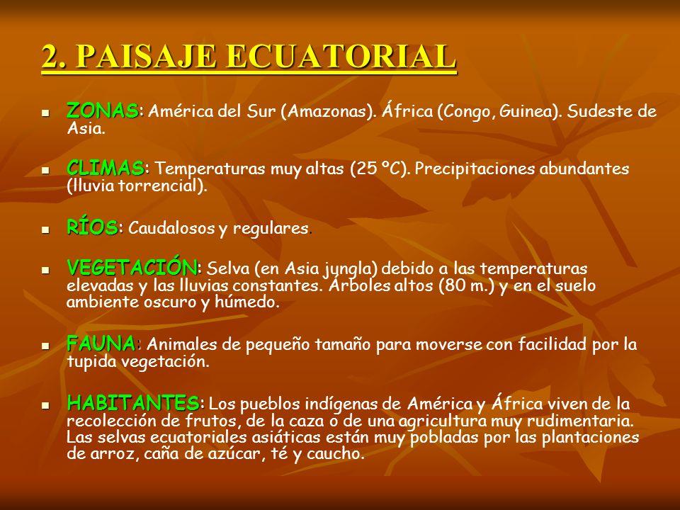 2. PAISAJE ECUATORIALZONAS: América del Sur (Amazonas). África (Congo, Guinea). Sudeste de Asia.
