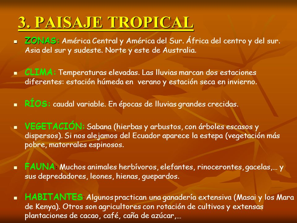 3. PAISAJE TROPICALZONAS: América Central y América del Sur. África del centro y del sur. Asia del sur y sudeste. Norte y este de Australia.