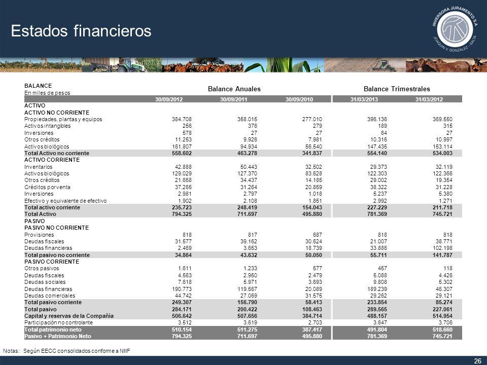 Estados financieros Balance Anuales Balance Trimestrales BALANCE