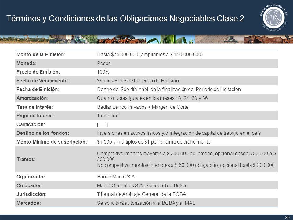 Términos y Condiciones de las Obligaciones Negociables Clase 2