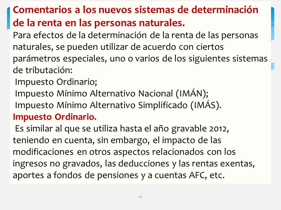 Comentarios a los nuevos sistemas de determinación de la renta en las personas naturales.
