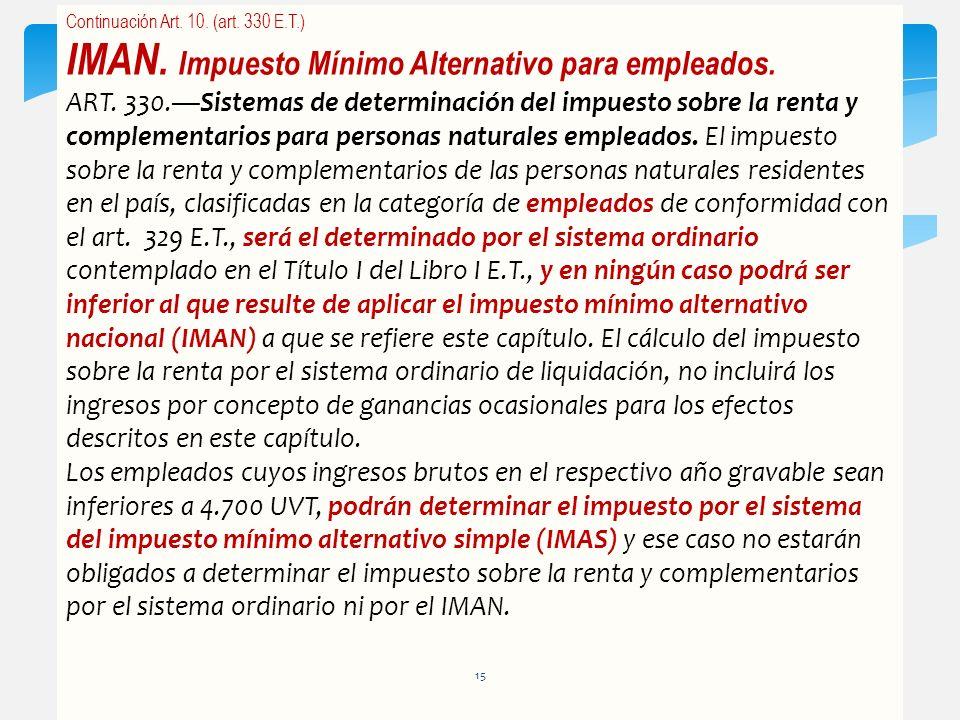 IMAN. Impuesto Mínimo Alternativo para empleados.