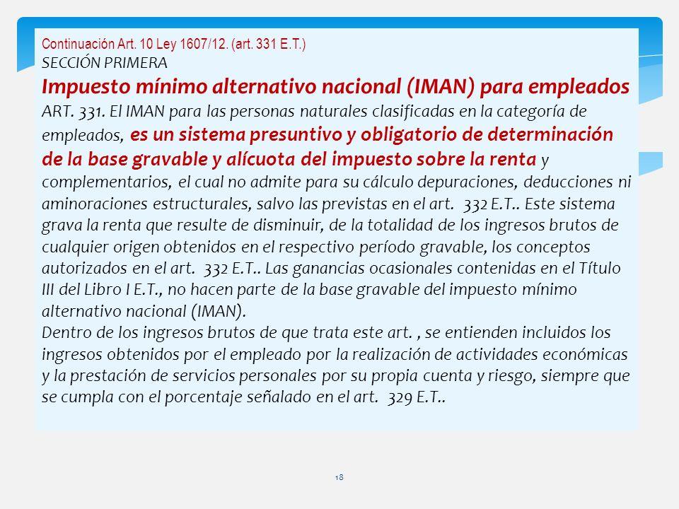 Impuesto mínimo alternativo nacional (IMAN) para empleados