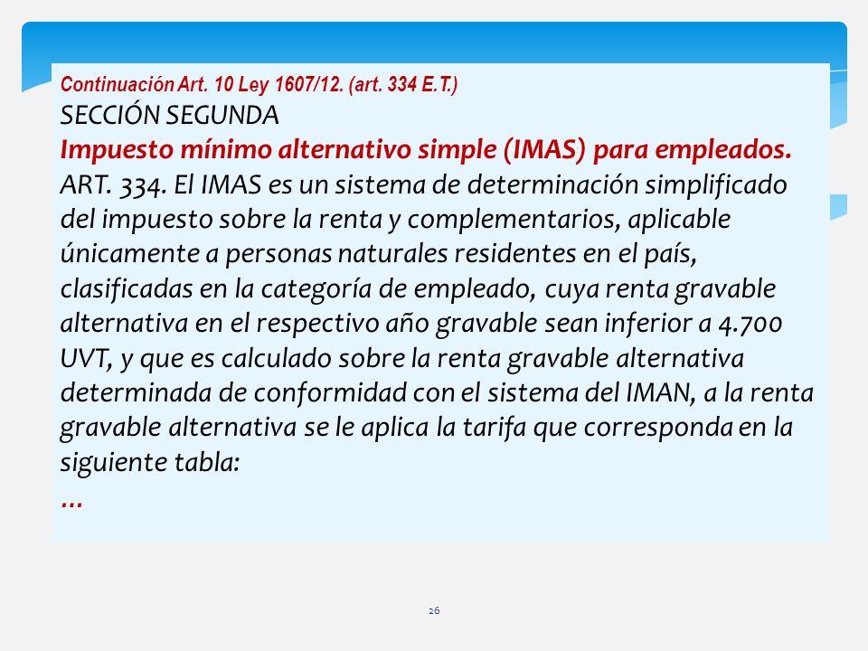 Impuesto mínimo alternativo simple (IMAS) para empleados.