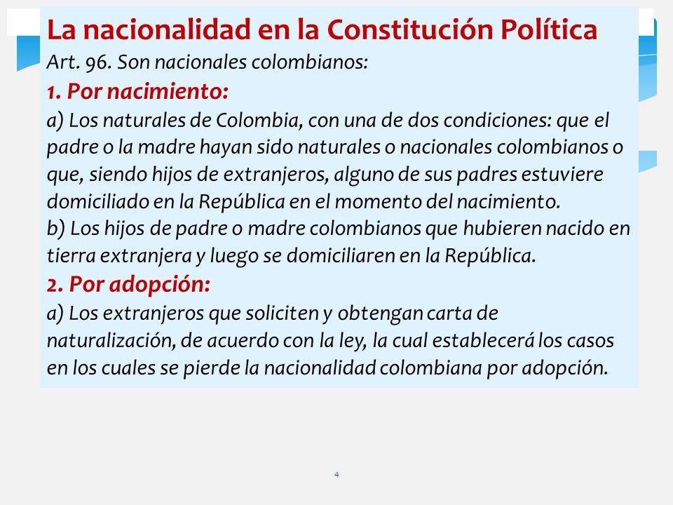 La nacionalidad en la Constitución Política