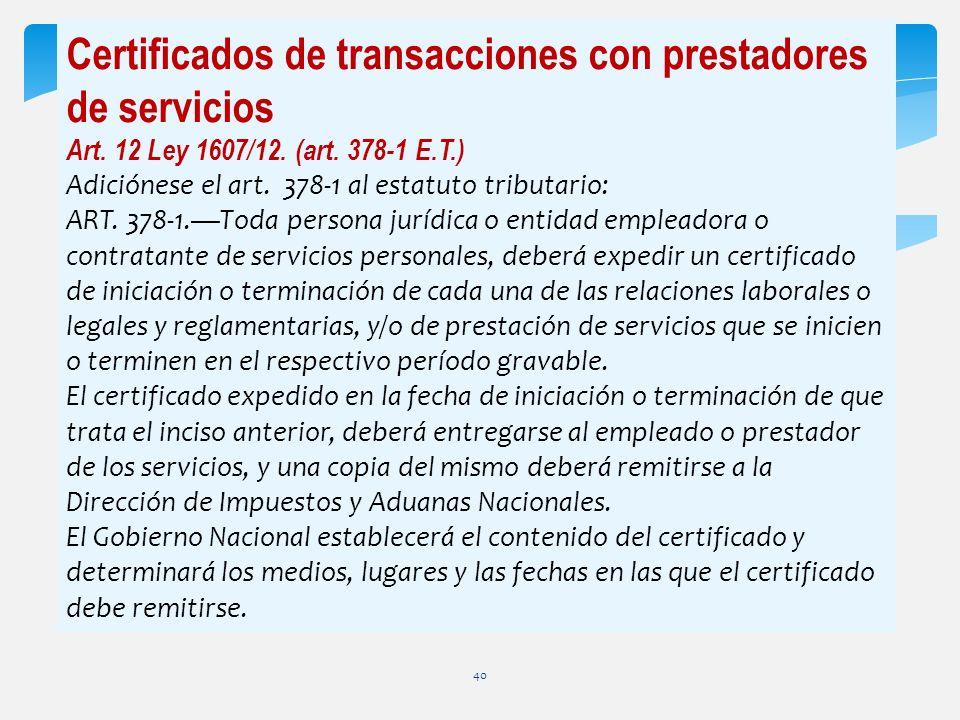 Certificados de transacciones con prestadores de servicios