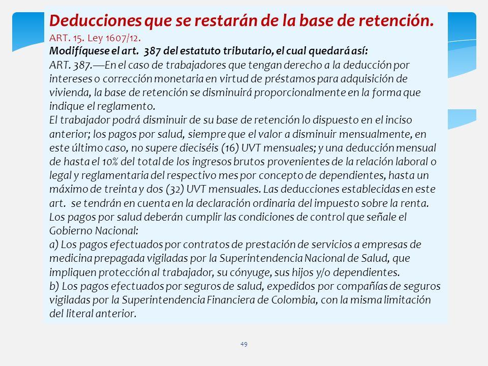 Deducciones que se restarán de la base de retención.