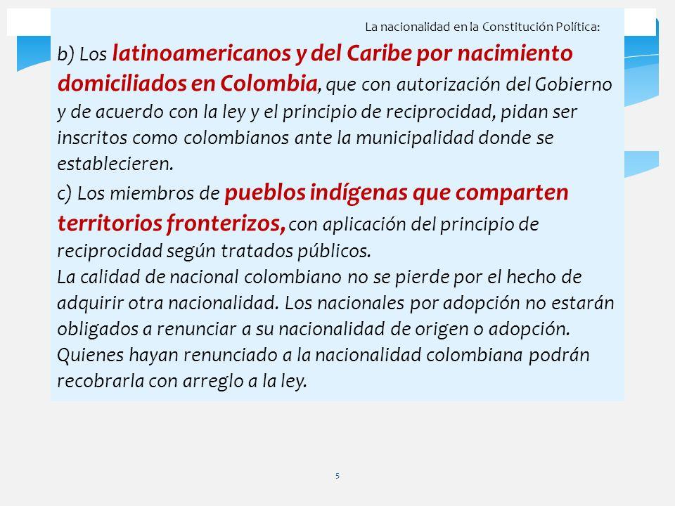 La nacionalidad en la Constitución Política: