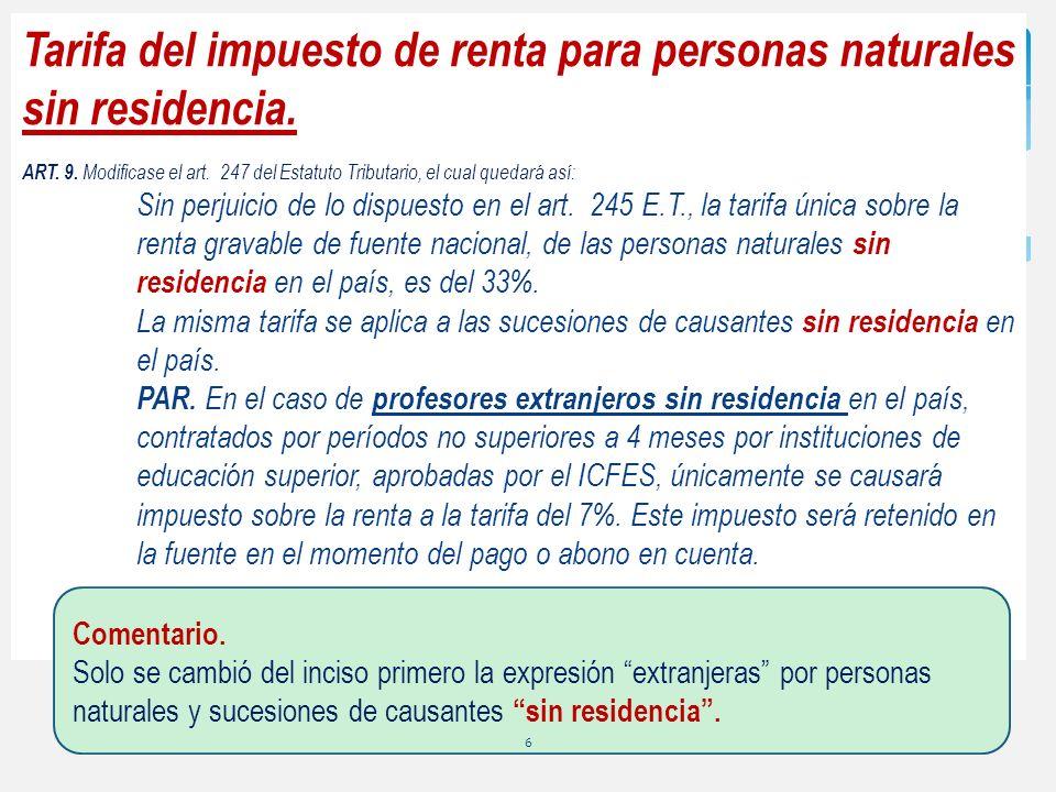Tarifa del impuesto de renta para personas naturales sin residencia.