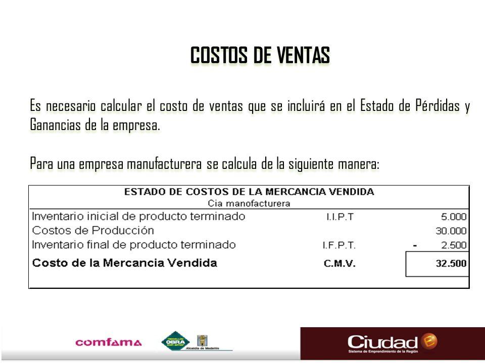 Es necesario calcular el costo de ventas que se incluirá en el Estado de Pérdidas y Ganancias de la empresa.