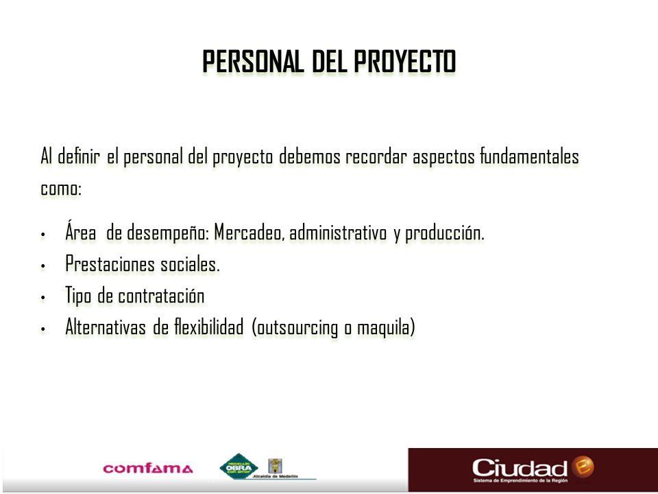 PERSONAL DEL PROYECTO Al definir el personal del proyecto debemos recordar aspectos fundamentales. como:
