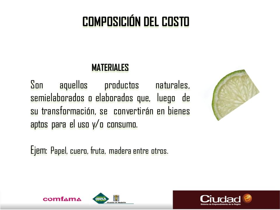 COMPOSICIÓN DEL COSTO MATERIALES.