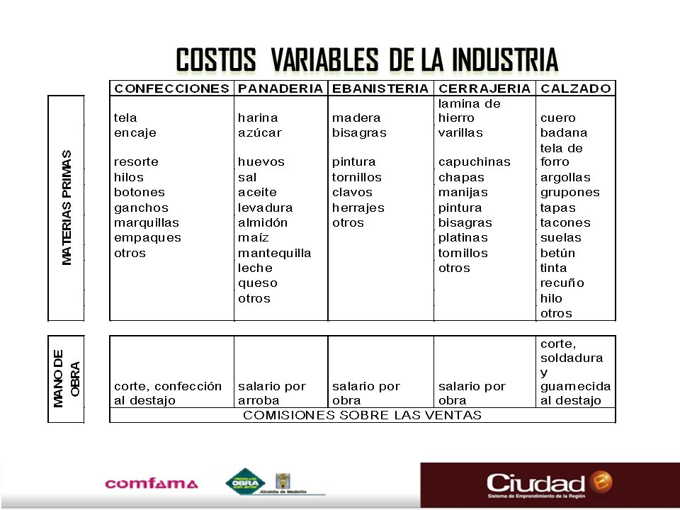 COSTOS VARIABLES DE LA INDUSTRIA