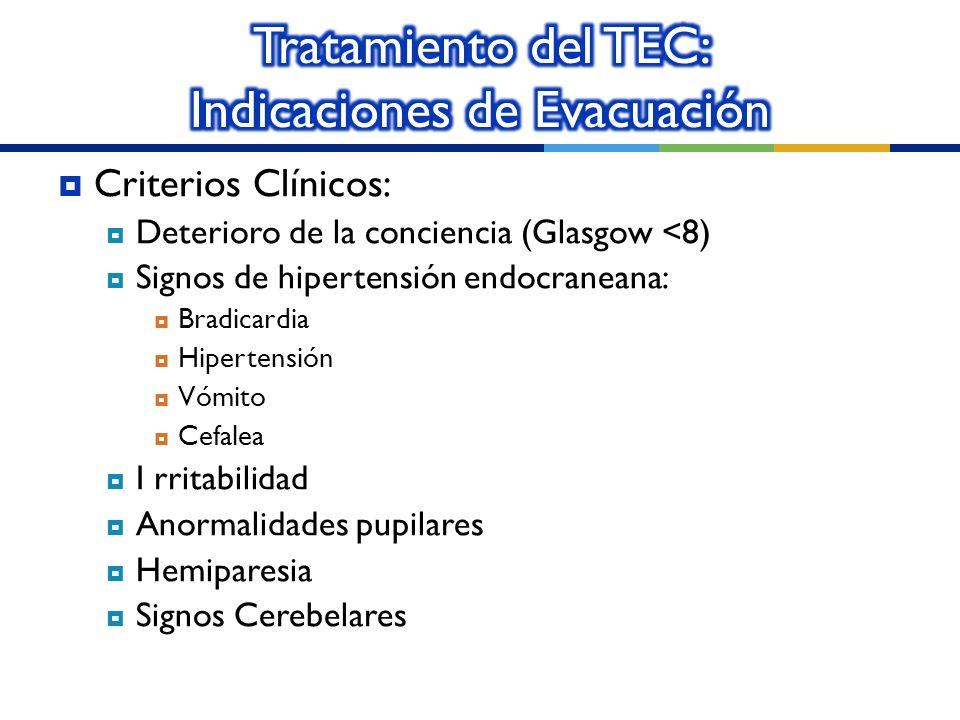 Tratamiento del TEC: Indicaciones de Evacuación