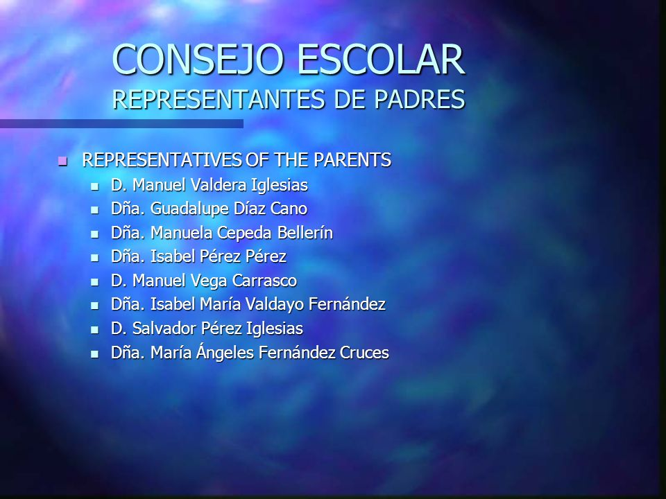 CONSEJO ESCOLAR REPRESENTANTES DE PADRES