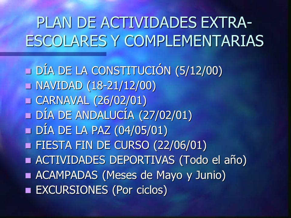 PLAN DE ACTIVIDADES EXTRA-ESCOLARES Y COMPLEMENTARIAS