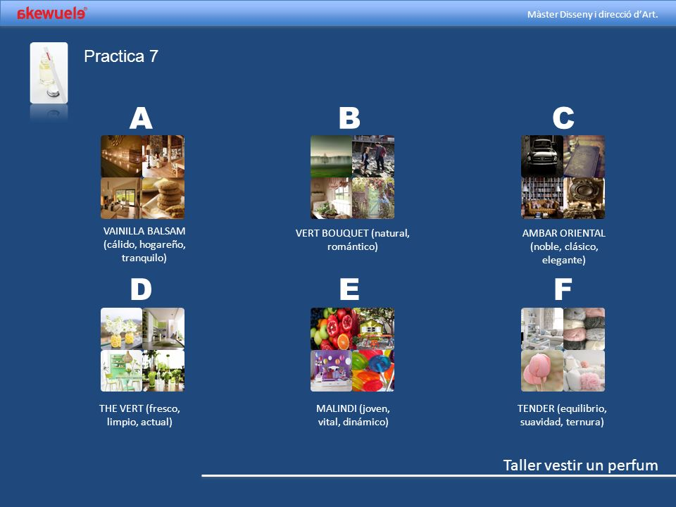 A B C D E F Practica 7 VAINILLA BALSAM (cálido, hogareño, tranquilo)