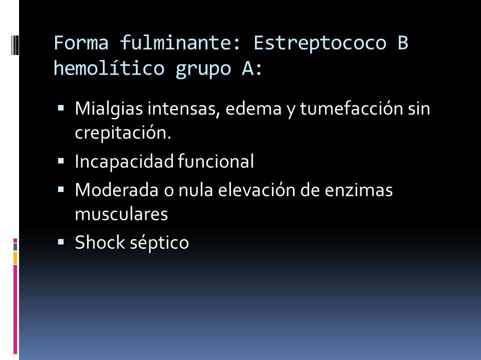Forma fulminante: Estreptococo B hemolítico grupo A: