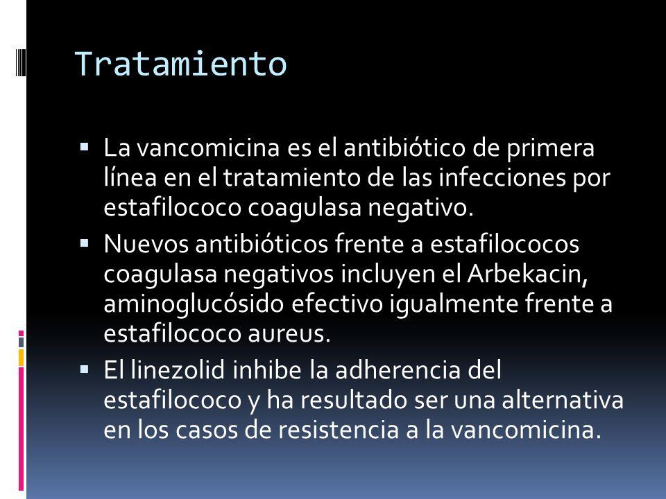 Tratamiento La vancomicina es el antibiótico de primera línea en el tratamiento de las infecciones por estafilococo coagulasa negativo.