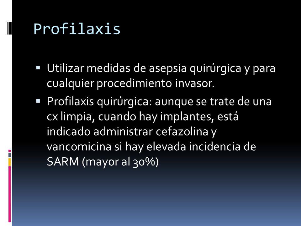 Profilaxis Utilizar medidas de asepsia quirúrgica y para cualquier procedimiento invasor.
