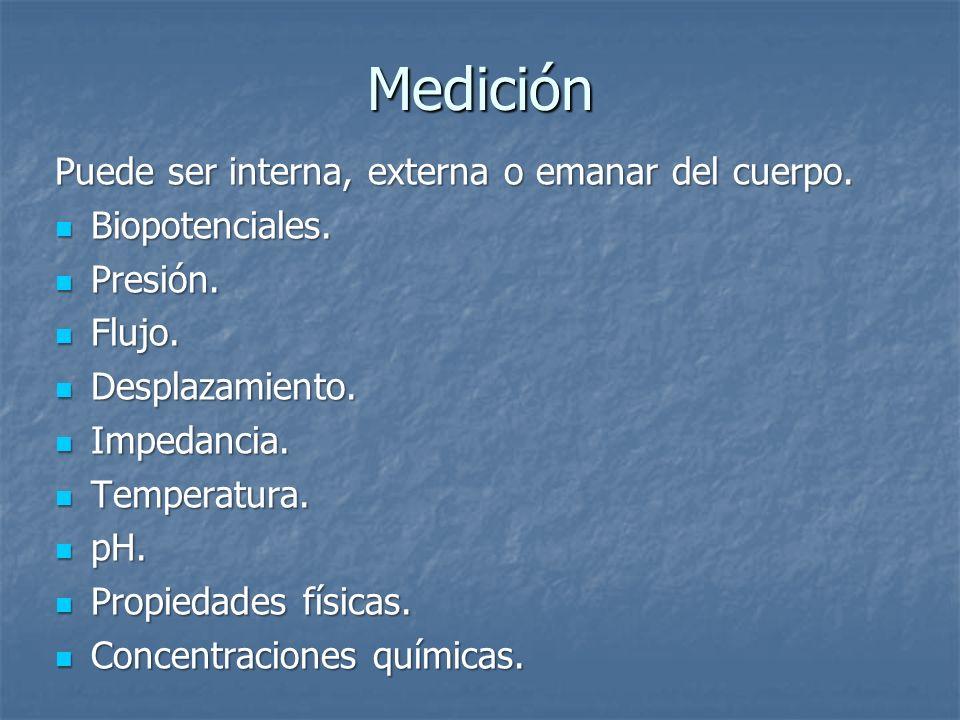 Medición Puede ser interna, externa o emanar del cuerpo.