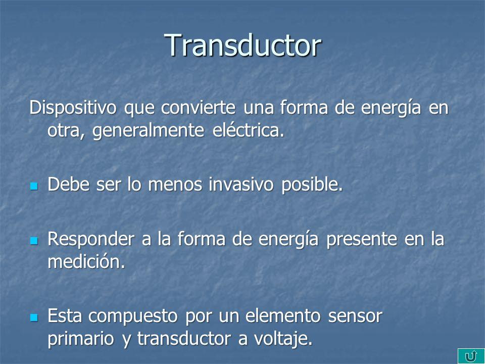 Transductor Dispositivo que convierte una forma de energía en otra, generalmente eléctrica. Debe ser lo menos invasivo posible.