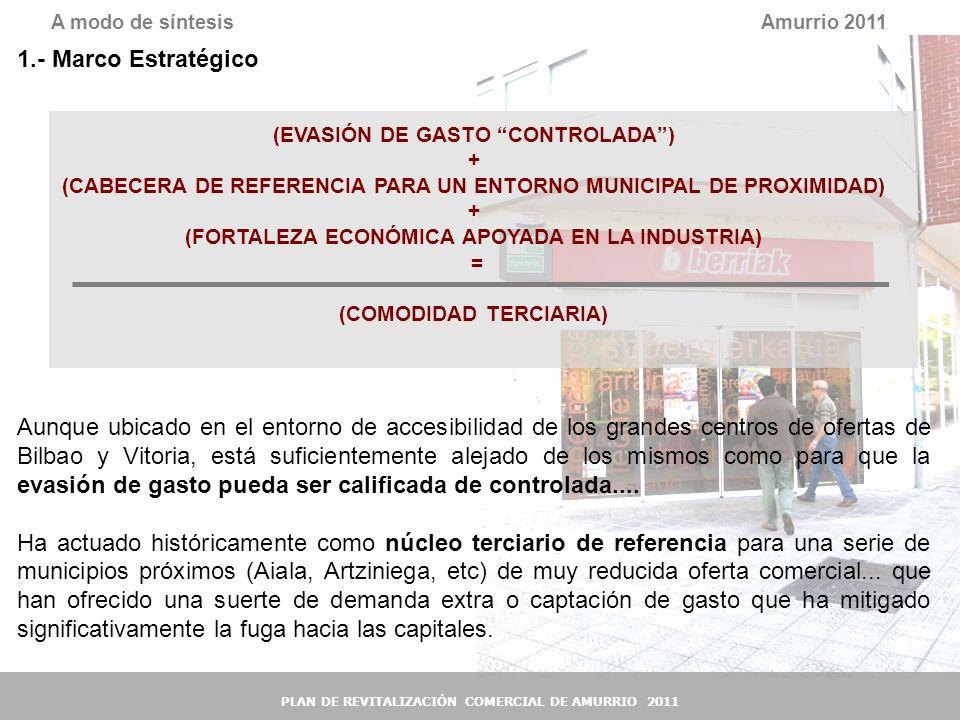 A modo de síntesis Amurrio 2011. 1.- Marco Estratégico. (EVASIÓN DE GASTO CONTROLADA ) +