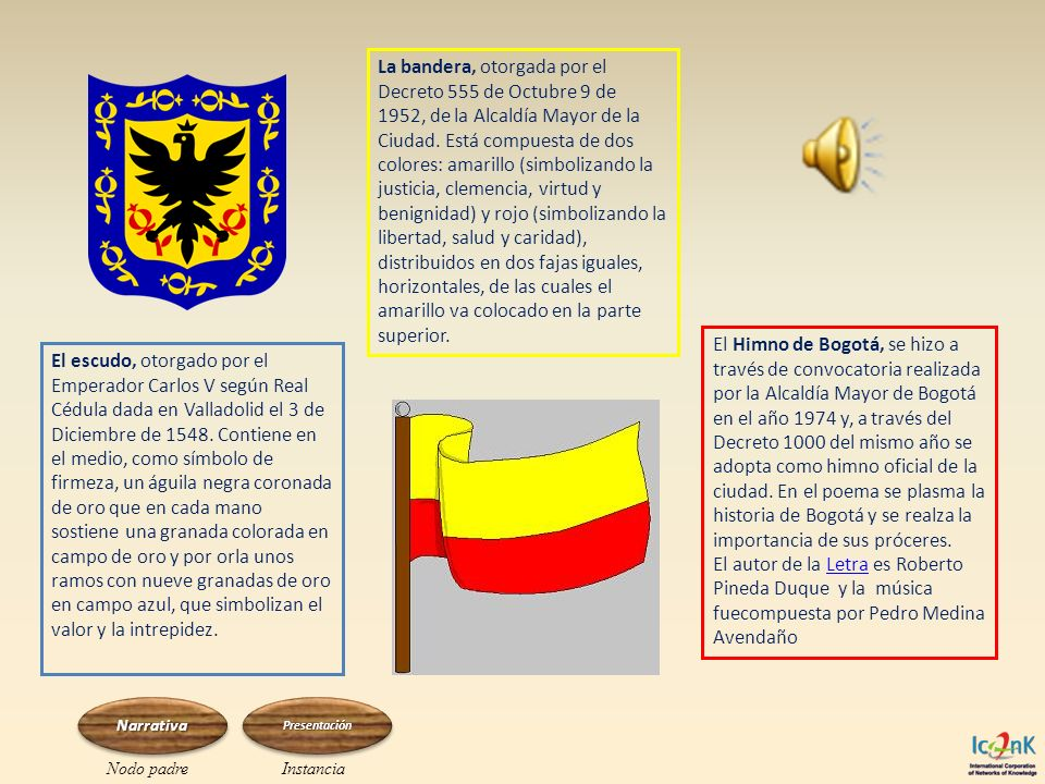 La bandera, otorgada por el Decreto 555 de Octubre 9 de 1952, de la Alcaldía Mayor de la Ciudad. Está compuesta de dos colores: amarillo (simbolizando la justicia, clemencia, virtud y benignidad) y rojo (simbolizando la libertad, salud y caridad), distribuidos en dos fajas iguales, horizontales, de las cuales el amarillo va colocado en la parte superior.