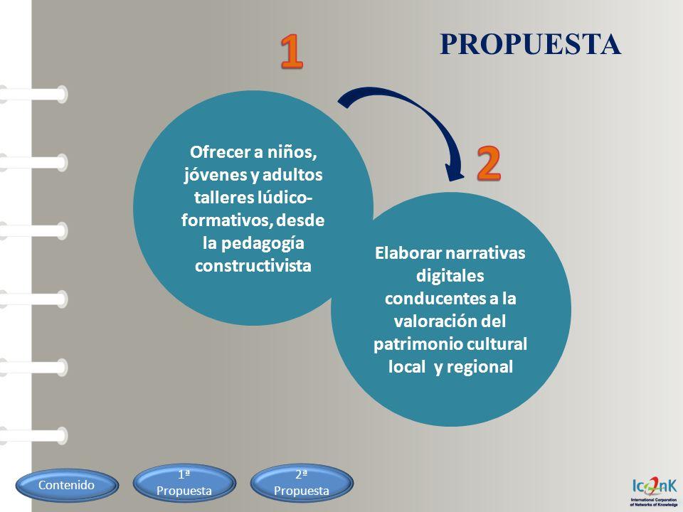 1 PROPUESTA. Ofrecer a niños, jóvenes y adultos talleres lúdico-formativos, desde la pedagogía constructivista.