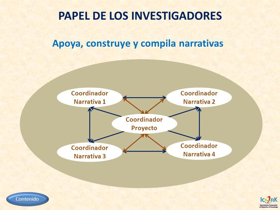 PAPEL DE LOS INVESTIGADORES Apoya, construye y compila narrativas