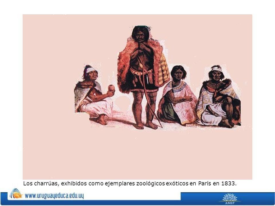 Los charrúas, exhibidos como ejemplares zoológicos exóticos en París en 1833.