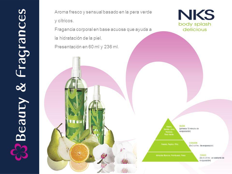 Aroma fresco y sensual basado en la pera verde y cítricos.