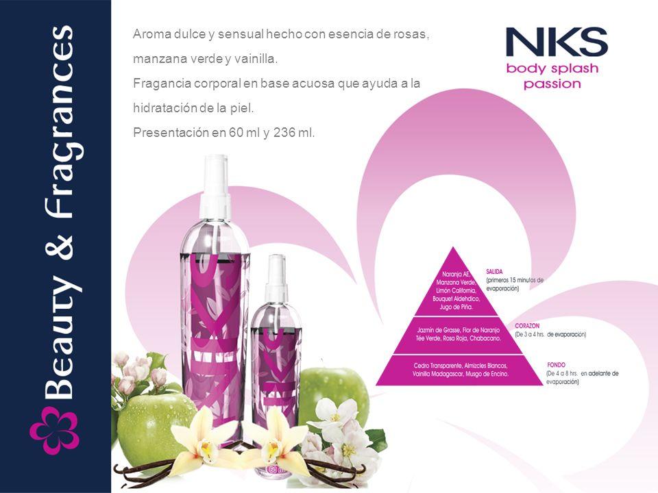 Aroma dulce y sensual hecho con esencia de rosas, manzana verde y vainilla.