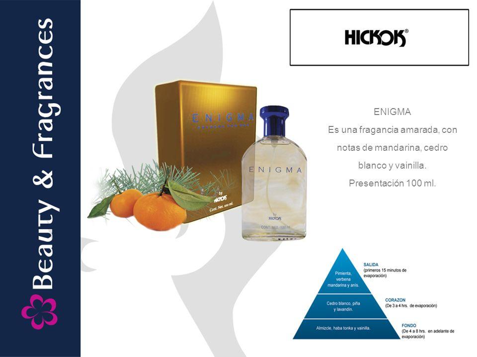 ENIGMA Es una fragancia amarada, con notas de mandarina, cedro blanco y vainilla.