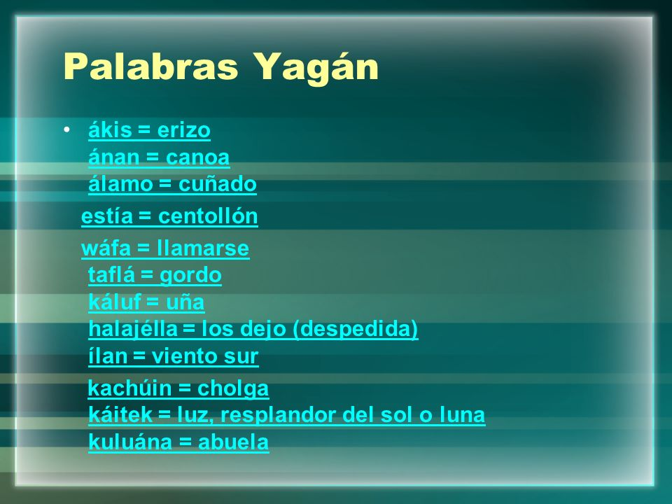 Palabras Yagán ákis = erizo ánan = canoa álamo = cuñado