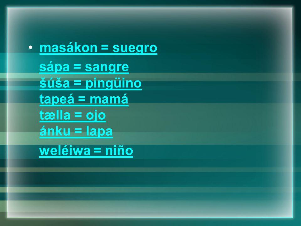 masákon = suegro sápa = sangre šúša = pingüino tapeá = mamá tælla = ojo ánku = lapa weléiwa = niño