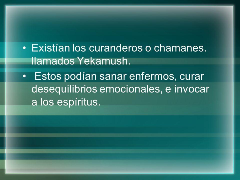Existían los curanderos o chamanes. llamados Yekamush.