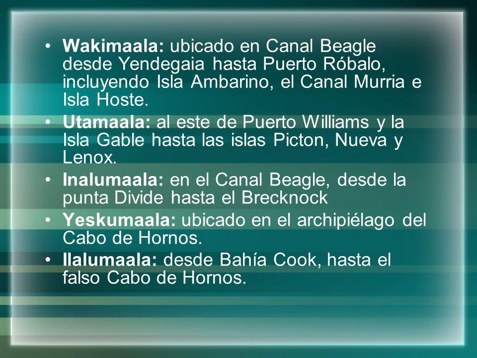 Wakimaala: ubicado en Canal Beagle desde Yendegaia hasta Puerto Róbalo, incluyendo Isla Ambarino, el Canal Murria e Isla Hoste.
