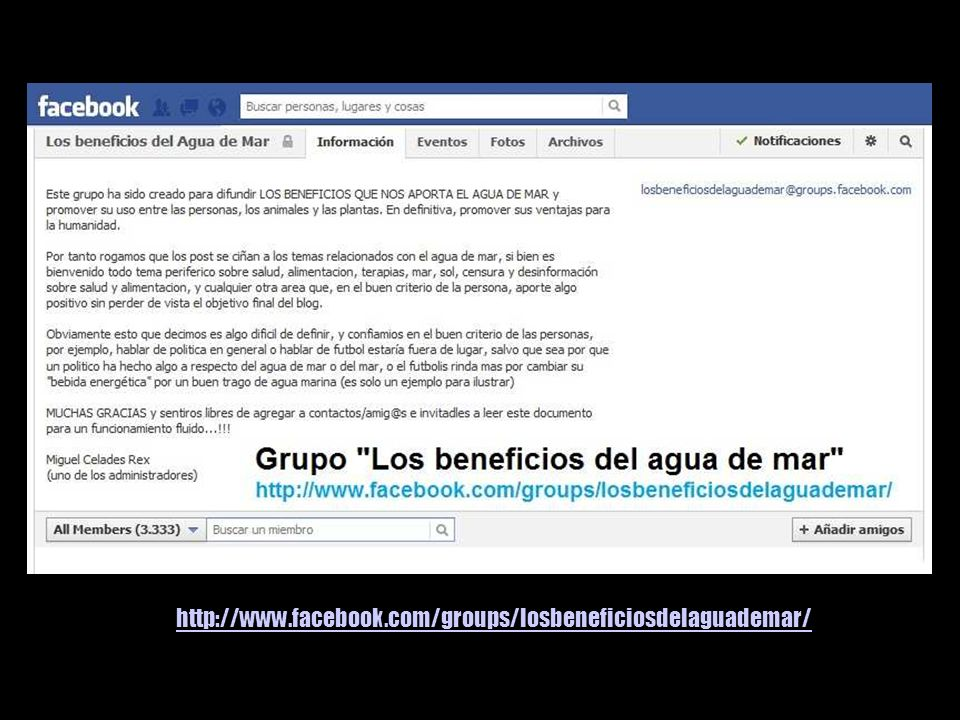 http://www.facebook.com/groups/losbeneficiosdelaguademar/