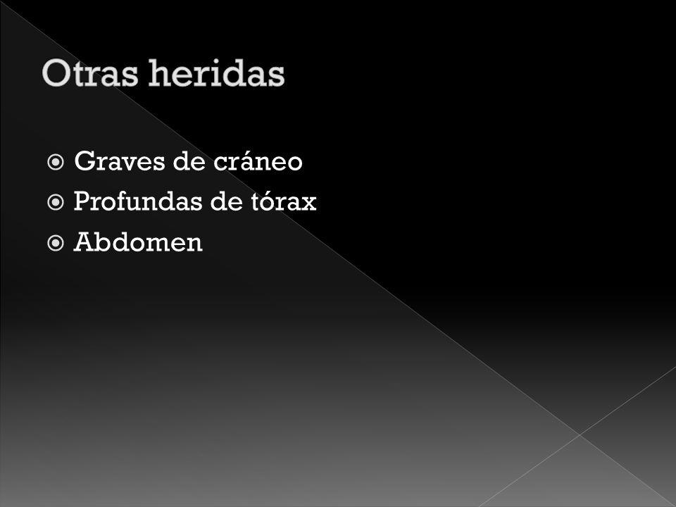 Otras heridas Graves de cráneo Profundas de tórax Abdomen